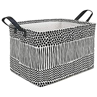 MZIMIK Rectangular Storage Basket Collapsible Organizer Bin Waterproof Toy Box for Organizing Home/Dorm/Kitchen/Pet/Office/Closet/Shelf/Gift Baskets(Wave Point)