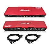 TESmart Red HDMI 4K Ultra HD 4x1 HDMI KVM Switch 3840x2160@60Hz 4:4:4 with 2 Pcs 5ft KVM Cables Supports USB 2.0 Device Control up to 4 Computers/Servers/DVR