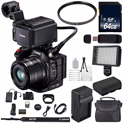 Canon XC15 4K Professional Camcorder #1456C002 (International Model) + 64GB Memory Card + BP-820 Replacement Lithium Ion Battery Bundle