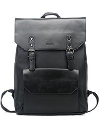 Unisex PU Laptop Backpack Knapsack Rucksack Weekender Daypack Bag