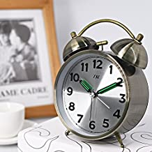 "4.5"" BRONZE Bell Alarm Clock with Stereoscopic Dial, Battery Operated Loud Alarm ClockXL Advance Smart Light with Dimmer Colorful Snooze One Key Smart Alarm Clock"