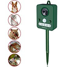 Soeland Ultrasonic Animal Repellent Solar Outdoor Electronic Ultrasonic Waterproof Animal Repeller with Flash LED Light Animals Control for Cats Raccoons Squirrels Skunks and Cats