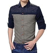Allegra K Men Cozy Slim Fit Dots Prints Corduroy Splicing Shirt