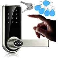 JASIT Door Lock Smart Keyless Digital Electronic Touchscreen Keypad Lever Lockset Security Entry Door Code Lock with 5 RFID Card Tags Knob Handle Stainless Steel Left/Right-Free Handed Silver (Silver)