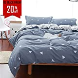 Uozzi Bedding 3 Piece Duvet Cover Set King, Reversible Printing with Brushed Microfiber, Lightweight Soft, Comfortable , Durable (Gray, King)
