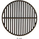 "Dracarys 15"" Grill & Smoker Cast Iron Grate Grids, Round Cooking Grate Big Green Egg Accessories Fit for Medium Big Green Egg Grill Grill Dome Kamado Joe Classic Char-Griller(Medium - 15"")"