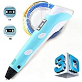 3D Printing Pen LCD Screen Version 2 for Doodling, Art & Craft Making, 3D Modeling and Education, Comes with 30 Grams 1.75mm ABS Filament (Blue)