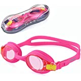 UShake Girl Kid Child Swim Goggle, Anti-Fog UV Protection Hypoallergenic Silicone Gaskets Kid Child Swimming Goggles for Kids and Early Teens (Pink)