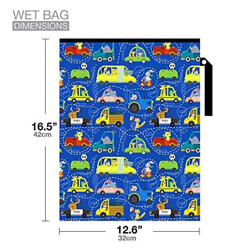 Waterproof and Reusable Wet Bag Diaper Stroller Water Resistant Swimsuit Travel Toiletries Yoga Gym Washable Carrier Car Large 12.6'' x 16.5''