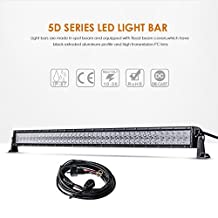 """Auxbeam 42"""" 240W LED Light Bar 5D Lens Driving Light 80pcs 3W CREE Chips 24000lm 6500K Combo Beam with Wiring Harness"""