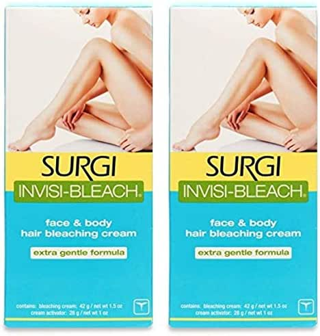 Surgi Invisi-Bleach Face & Body Hair Bleaching Cream 1.5 oz (Pack of 2)