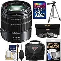 Panasonic Lumix G X Vario 14-140mm f/3.5-5.6 ASPH Power OIS Zoom Lens with 32GB Card + Case + Tripod + 3 Filters Kit for G7, GF7, GH3, GH4, GM5, GX7, GX8 Camera