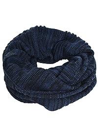 Men's Infinity Scarf Retro Knit Soft Warm Thick Neck Gaiter Winter Scarves CFE5001b-B (Navy&Black)