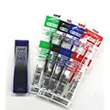 For Uni-ball Jetstream 4 & 1, Extra Fine Point Roller Ball Pens Refills -0.5mm Ball Point-black/blue/red/green Ink +Diamond Infused High Quality Leads [Nano Dia-40 Leads] 0.5mm Hb Value Set by Uni