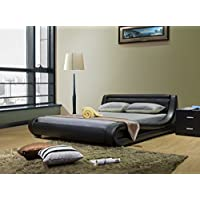 Greatime Queen Size Contemporary, Black Leatherette Bed with Headboard Lights