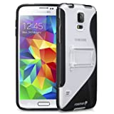 Fosmon® Samsung Galaxy S5 / SV 2014 (HYBO-SK) Hybrid S Design PC + TPU Case Cover with Kick Stand - Fosmon Retail Packaging (Black)
