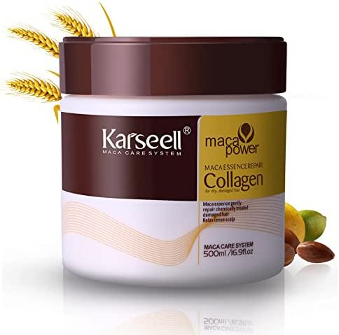 Hair Mask Karseell Collagen 16.9 OZ 500ml Deep Conditioner Coconut Oil Keratin Mask for Dry Damaged Hair Color Treated Hair Curly Hair Bleached Hair for All Hair Types