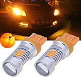 TUINCYN 7443 7444NA LED Turn Signals Light Bulbs Amber 2835 21 SMD LED Light Auto Back Reverse Brake Light(2-Pack)