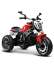 WHTBB Kids Motorcycle, 6V Electric Battery Powered Ride On Bike, Headlights & Music, Pedal, Rechargeable Electric Toy for Boys & Girls