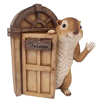 Design Toscano Garden Greetings Squirrel Welcome Tree House Door Sculpture