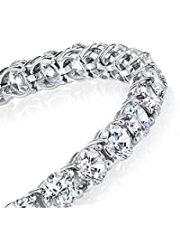 925 Sterling Silver 5mm Traditional Classic Brilliant Cut Round Cubic Zirconia Diamond Tennis Bracelet