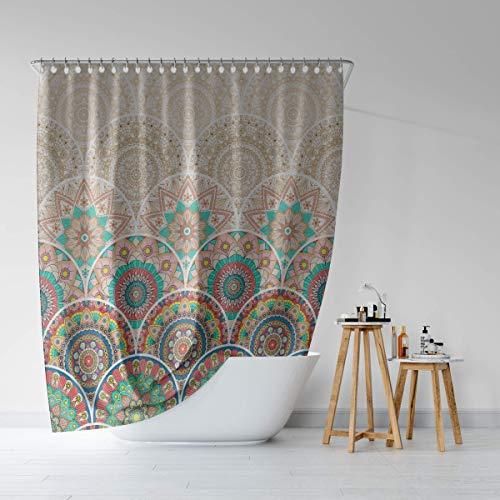 Boho Shower Curtain, Boho Fabric Curtain Liner with Mandala Flowers, Boho Bathroom Curtains Shower, Boho Heavy Duty Washable Shower Curtain Nice Boho Shower Curtain Farm House