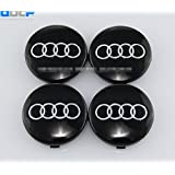 SQSM Black 4 pcs 60mm Wheel Center Caps Hubcaps For Audi