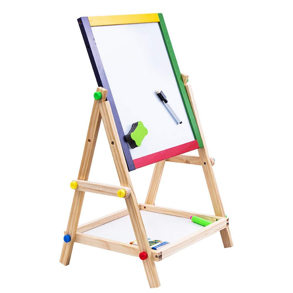 Consiglio di cavalletto in legno Tavolo da disegno a doppia faccia in legno con lavagna a forma di lavagna magnetica per bambini. Tavolo da disegno per bambini Sketchboard cavalletto 65cm Altezza rego