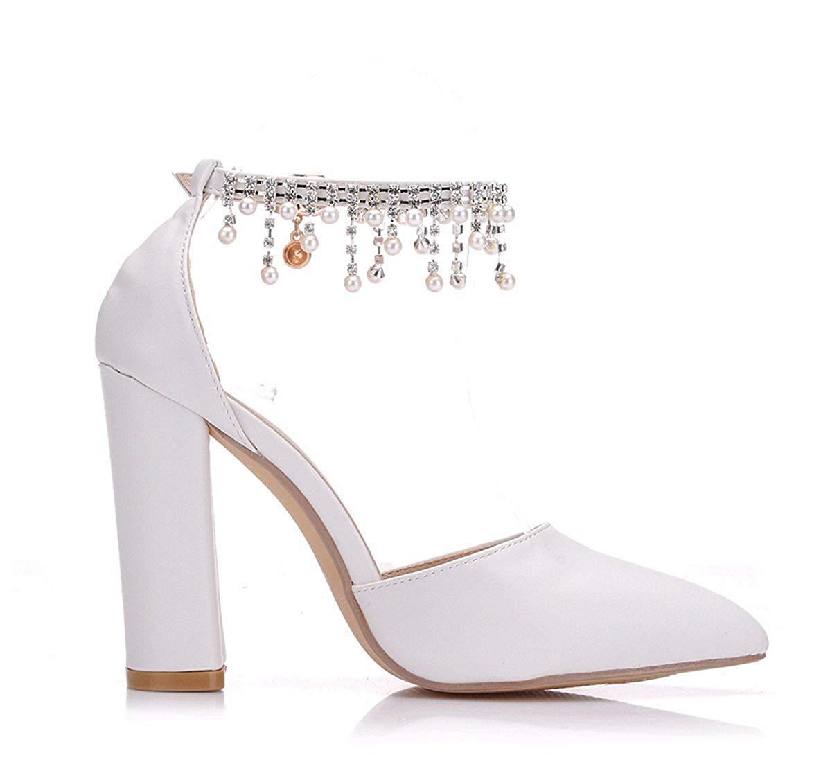 HhGold HhGold HhGold Damen Knöchel Ketten Chunky High Heel Satin Braut Hochzeit Mode Pumps (Farbe   Weiß-9cm Heel, Größe   7 UK) 6acc80