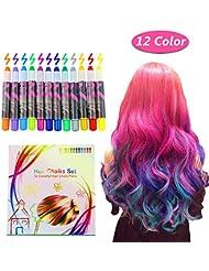 Hair Chalk, 12 Color Temporary Hair Chalk Hair Dye Pen Temporary Hair Color Temporary Non-Toxic Washable Hair Coloring Chalk for Girls, Party, Cosplay, Halloween Present by Estela