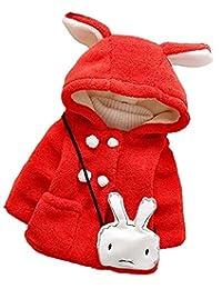 JELEUON Kids Baby Toddler Girls Rabbit Ears Winter Fleece Hoodies Coat Jacket Outwear
