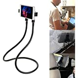Universal Rotating Gooseneck Multiple Function Cell Phone Holder - Lazy Bracket Tablet Smartphone Stand 360 Degree Rotating Mounts with Flexible Long Arm (Black)