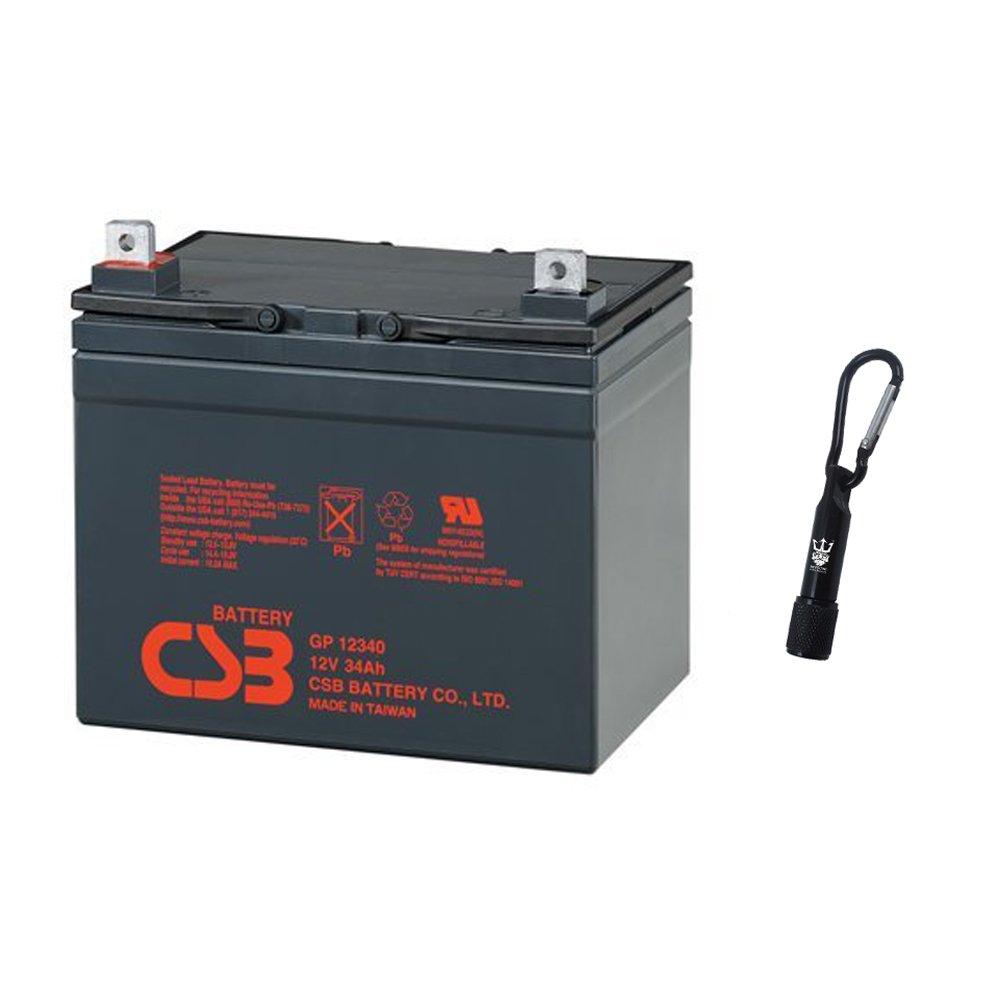 CSB GP12340 12 Volt 34 Amp Hour SLA Sealed Lead Acid Battery - Complimentary Neptune Keychain LED Flashlight