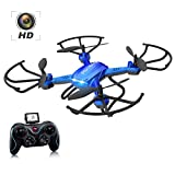 Drone with Camera , Potensic F181H Drone RC Quadcopter RTF Altitude Hold UFO with 2.4GHz 6-Gyro Headless System HD Camera (Blue)