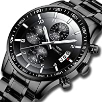 KASHIDUN Men's Watches Luxury Sports Casual Quartz Wristwatches Waterproof Chronograph Calendar Date Stainless Steel Band Black Color 890-QHYDgd