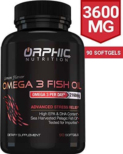 Omega 3 Fish Oil Supplements Max Potency Burpless Capsules 3600mg Fish Oil 2160mg Omega 3 1296mg EPA 864mg DHA