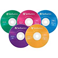 Verbatim 700MB 52x 80 Minute Color Recordable Disc CD-R, 25-Disc Slim Case 94611