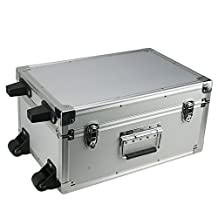 SRA Cases Aluminum Hard Case with Wheels, Silver, 17.3 x 11.7 x 8.6 Inches by SRA Cases