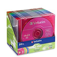 Verbatim 700MB 2x-4x DataLifePlus Color Rewritable Disc CD-RW, 20-Disc Slim Case 94300