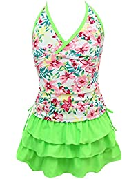qyqkfly Girls' 2 Piece 4Y-15Y Florence Adjustable Tankini Swimsuit (FBA) (Large(12), Green)
