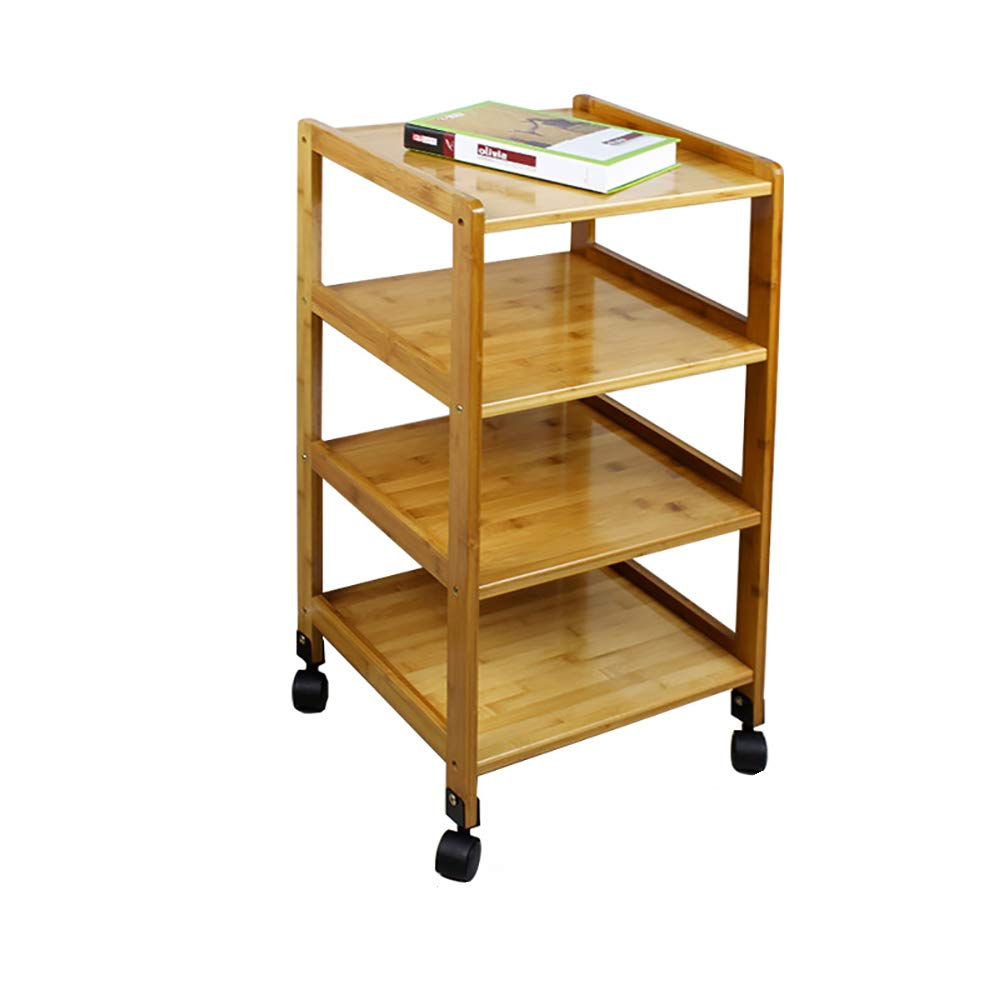 4 layers 383878cm Bamboo Simple Movable Bedroom Bedside Table Simple Modern Mini Storage Locker Floor-Standing Rack -by TIANTA (Size   2 Layers 55  38  55cm)