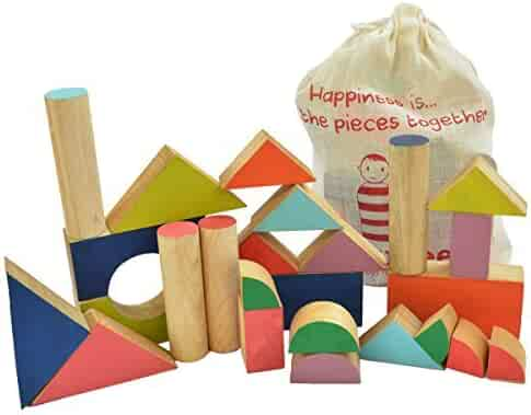 Shumee Wooden Chalk-o-Blocks Building & Stacking Blocks for Toddlers, Kids, Preschool Age Children | Educational, Constructive Toy | 100% Safe, Natural & Eco-Friendly | 3 Years and up