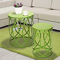 Adeco Accent Round & Cone Shape End, Side Table / Chair, Interlocking Oval Pattern, Lime Green (Pair)