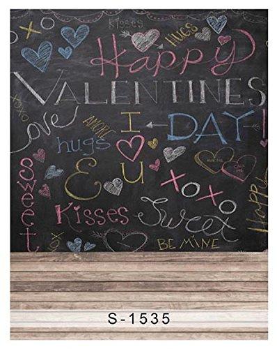 5x7ft Vinyl Valentines Love Hug Kiss Chalkboard Wood Photography Studio Backdrop Background