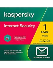 Kaspersky Internet Security 2021 | 1 Device | 3 Years (2+1 Years) | PC/Mac/Android | Activation Key Card by Post with Antivirus Software, 360 Deluxe Firewall, Web Monitoring, Total Security VPN