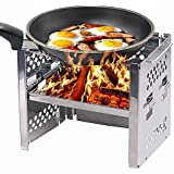 Wood Burning Camp Stoves Picnic BBQ Cooker/Potable Folding Stainless Steel Backpacking Stove