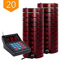 NADAMOO Restaurant Pager System With 20 Call Coaster Pager and Beeper Wireless Paging System Calling System Portable Rechargable Restaurant Buzzers with Keypad Call Buttons