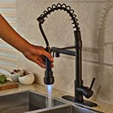 "Rozin Oil Rubbed Bronze LED Light Spray Swivel Spout Kitchen Sink Faucet with 8"" Holes Deck Plate"