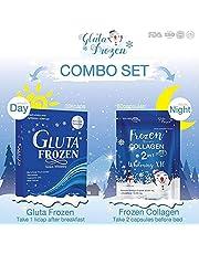 Double Pack : Gluta Frozen Genius+Frozen Collagen Whitening x10 Glutathione 9000 mg Reduce acne Freckles Melasma Aura Whitening Lightening Skin anti-aging Lightenin Skin Reduce Acne Hair Nails