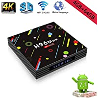 H96 Max Android 7.1 TV Box Built in 4GB RAM/64GB Amlogic 64 Bits CPU, 4K Ultra HD Mini PC,Smart Set Top Box Support Dual WiFi LAN 1000M Bluetooth 4.1,US Plug